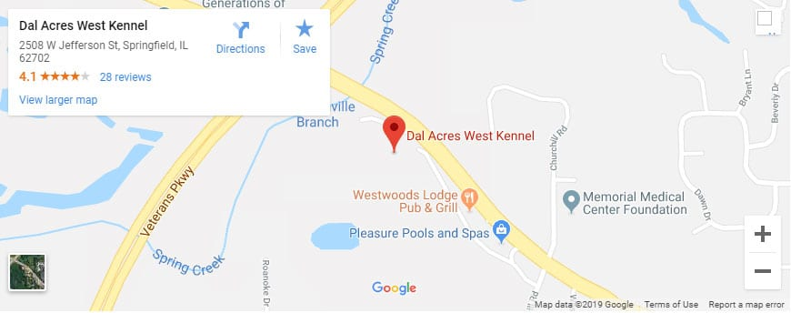 dal acres west kennel google map springfield il